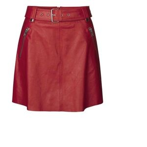 NOTES DU NORD LAMB LEATHER MOTORCYCLE MINI SKIRT